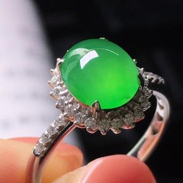 (超值推薦)冰種綠晴水鑲白金鉆石戒指翡翠