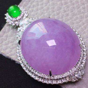 冰种紫罗兰镶18K白金钻石胸坠翡翠