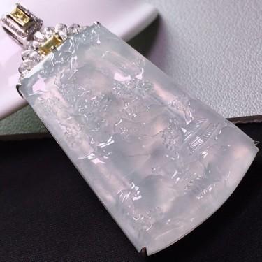 冰玻种镶淡晴水镶18K白金钻石山水牌挂件翡翠
