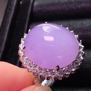 冰种紫罗兰镶18K白金钻石戒指翡翠