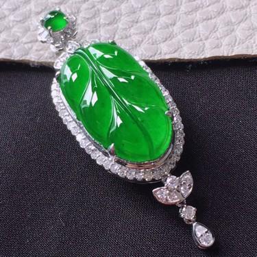 冰种满绿镶18K白金钻石金枝玉叶胸坠翡翠