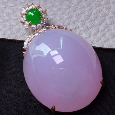 冰种紫罗兰镶18K玫瑰金钻石胸坠翡翠