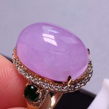 冰种紫罗兰镶18K玫瑰金钻石戒指翡翠