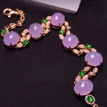 冰种紫罗兰镶18K玫瑰金钻石手链翡翠