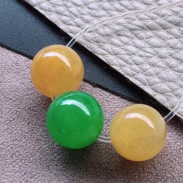 冰种多彩珠子(3颗)胸坠面翡翠
