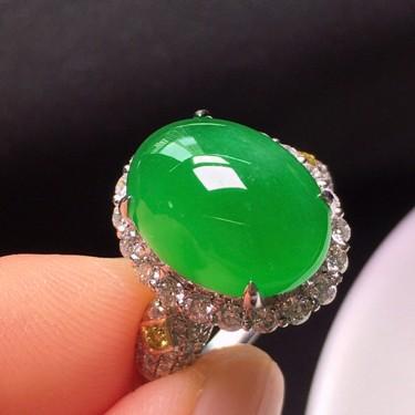 冰种阳绿镶18K白金钻石戒指翡翠