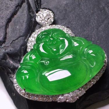 冰种满绿镶18K白金钻石佛公胸坠翡翠