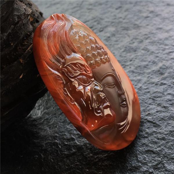 【宝玉石级】南红柿子红包浆赏梅挂件