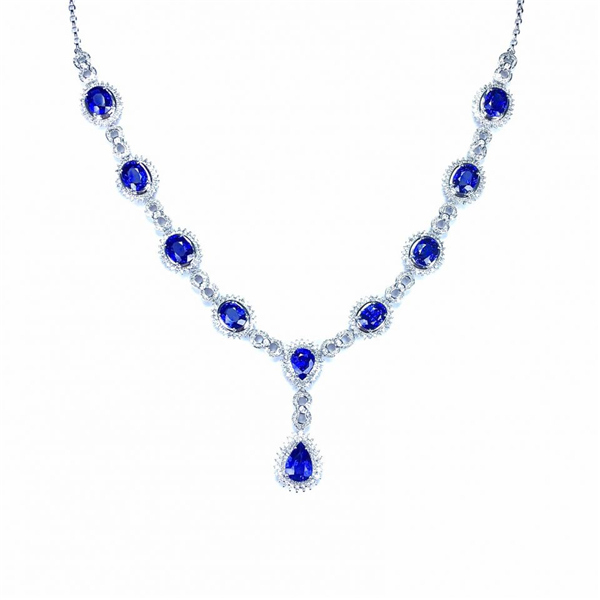 18k金镶天然蓝宝石项链