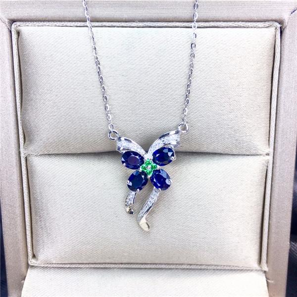 18k金镶天然蓝宝石锁骨链