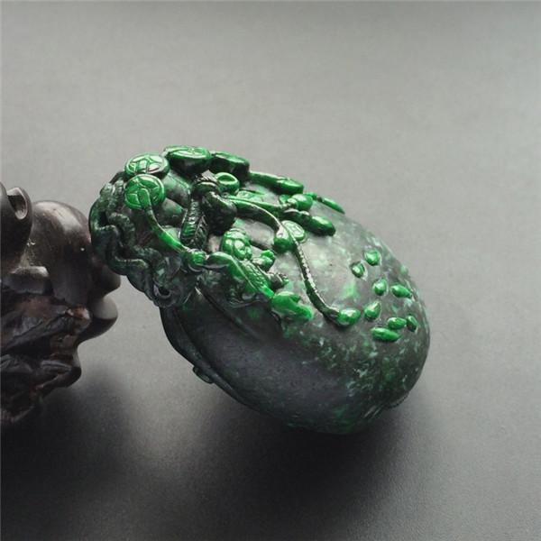 细糯种廯加绿代代有福手玩件