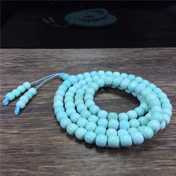 108颗绿松石老形桶珠链