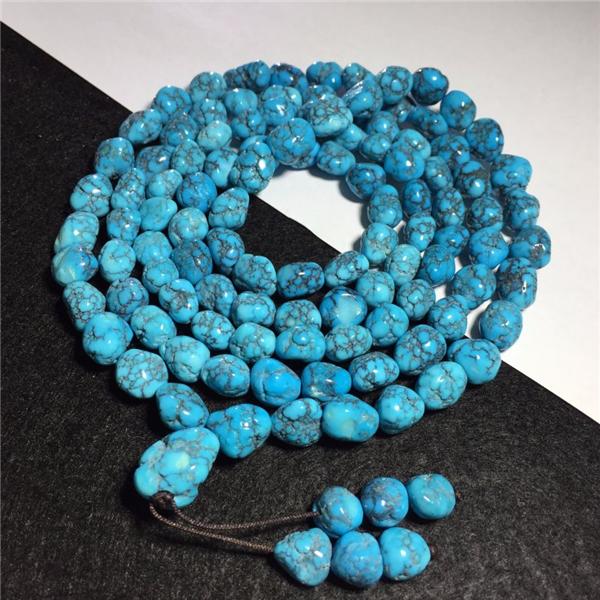 高蓝高瓷绿松石随形项链