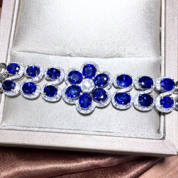 18k金镶天然蓝宝石手链