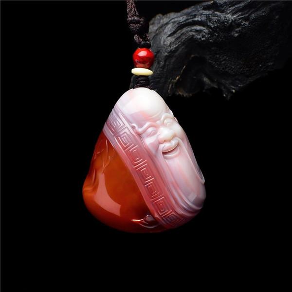 【宝玉石级】南红红白料寿星赐福挂件