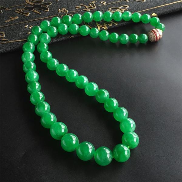 冰种正阳绿圆珠项链