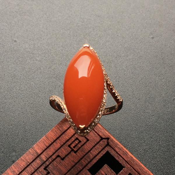 南红樱桃红镶玫瑰金戒指