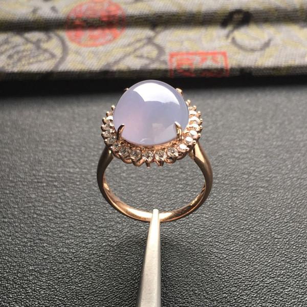冰种紫罗兰镶玫瑰金钻石戒指