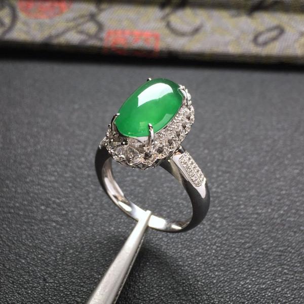 冰种蓝绿镶白金钻石戒指/胸坠两用