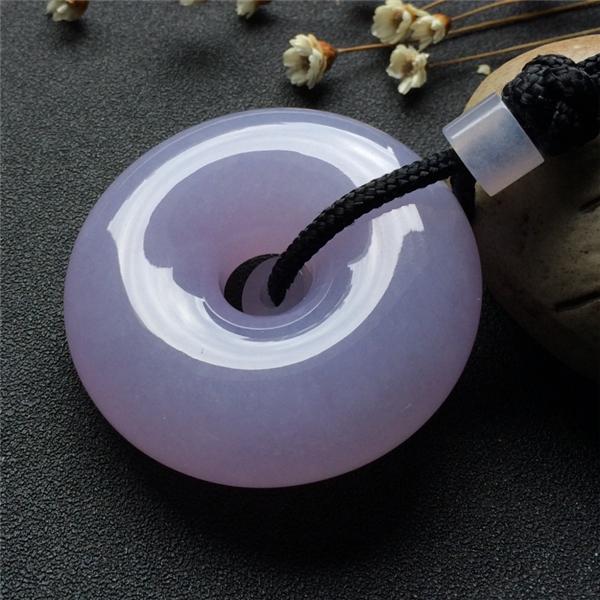 糯冰种紫罗兰平安扣挂件