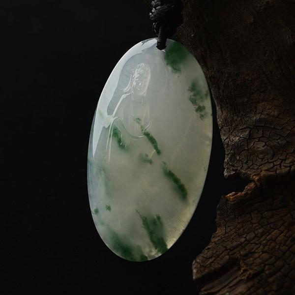 冰种飘绿花略带黄翡挂件——观音·福佑