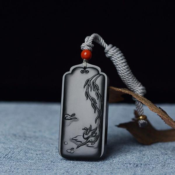 柳塘戏春图——和田玉黑青料挂件