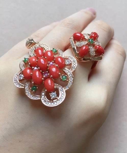 925银红珊瑚首饰套装