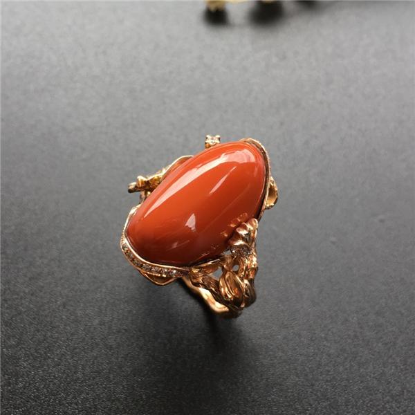 【宝玉石级】南红柿子红包浆镶玫瑰金戒指