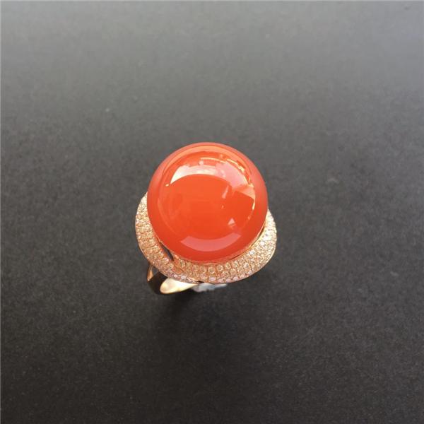 【宝玉石级】南红樱桃红18K玫瑰金镶钻圆珠戒指