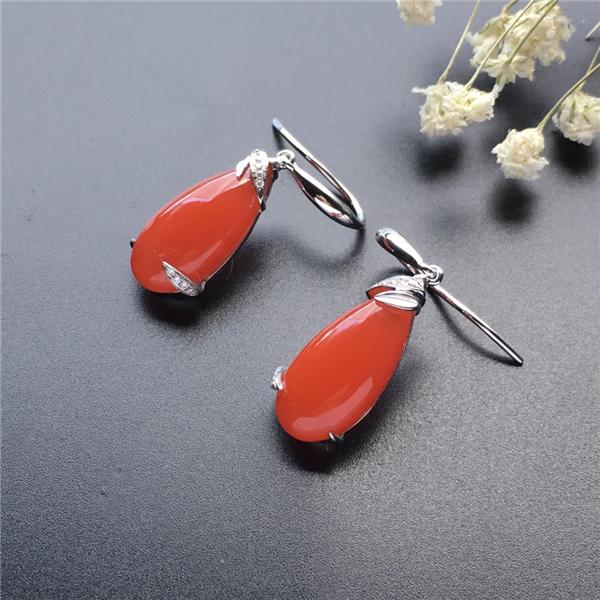 【宝玉石级】南红樱桃红镶白金耳环