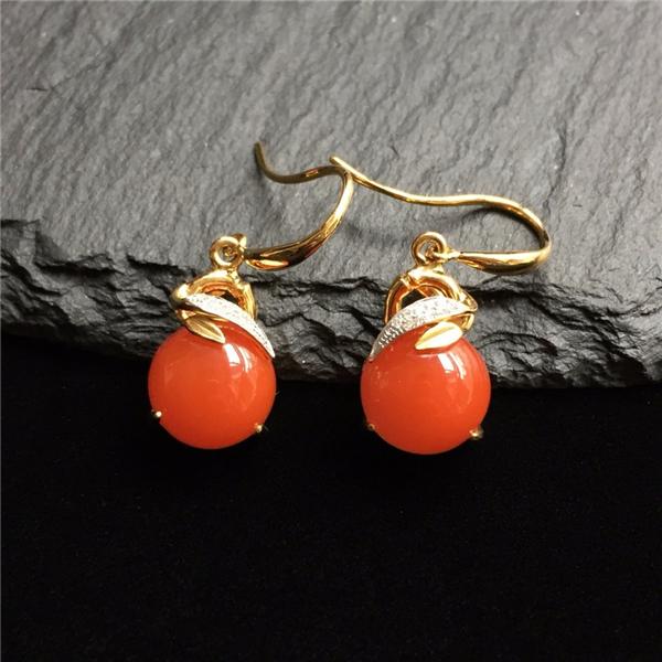 【宝玉石级】南红樱桃红镶18K金耳环