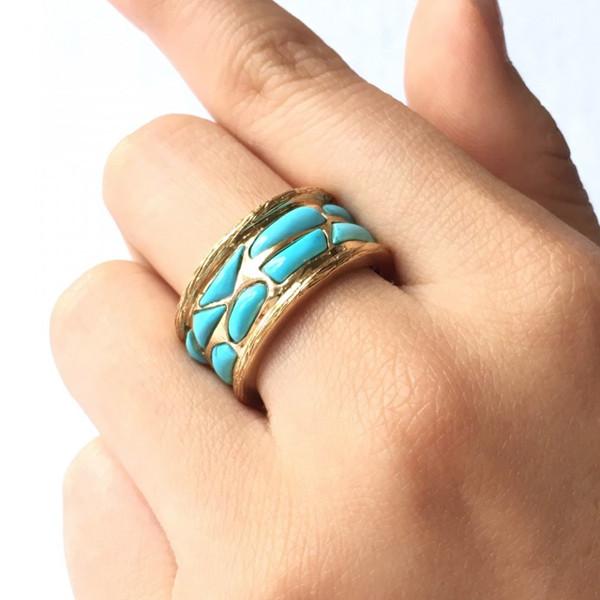 18K金镶绿松石戒指