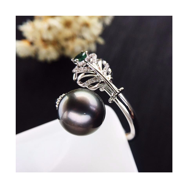 18K金镶天然黑珍珠戒指