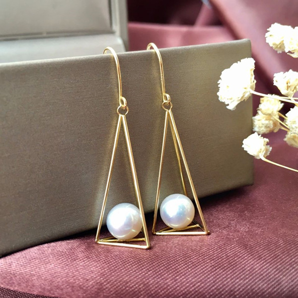 18k金镶天然珍珠耳环