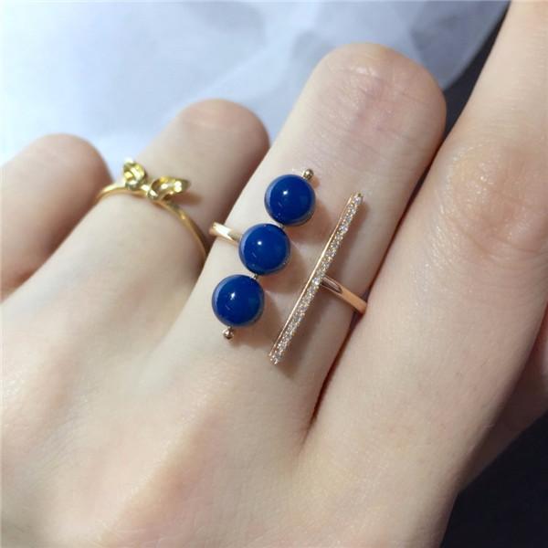 18K金镶多米尼加蓝珀戒指