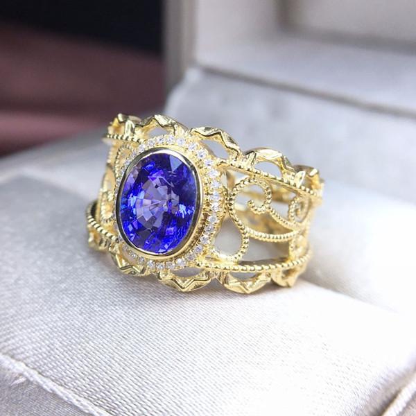 18k金镶天然坦桑石戒指