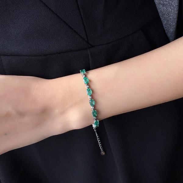 18k金镶天然祖母绿手链