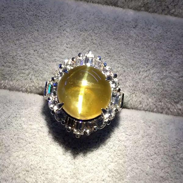 PT900金绿猫眼戒指