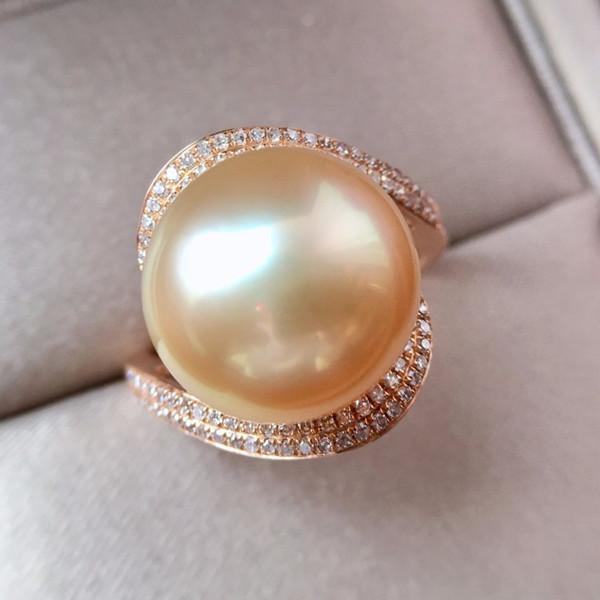 18K金镶天然珍珠戒指