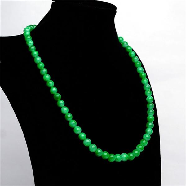 糯冰种阳绿圆珠项链