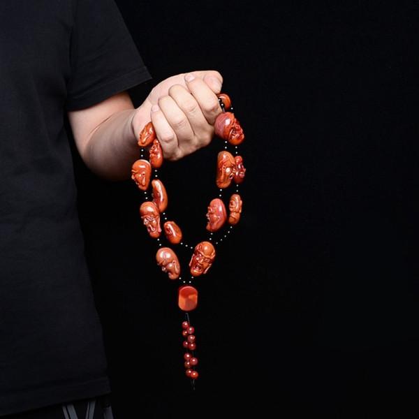 【宝玉石级】南红柿子红18罗汉手持