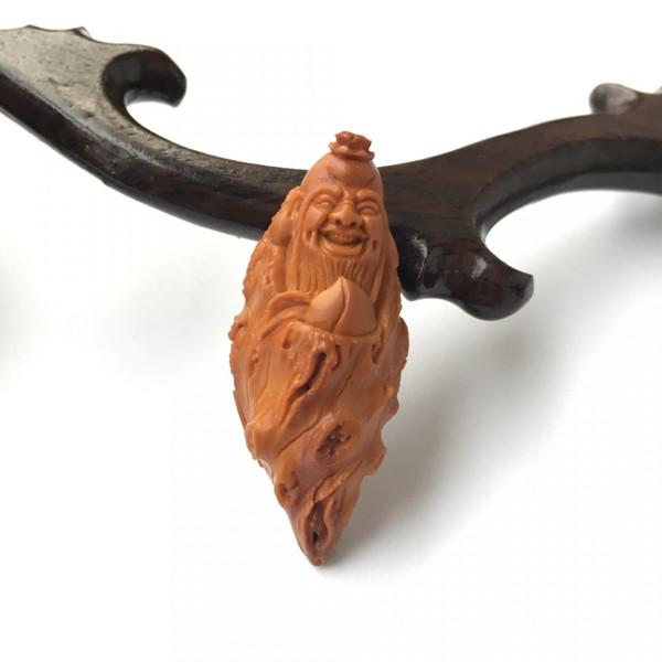 橄榄核雕单籽寿星送福吊坠