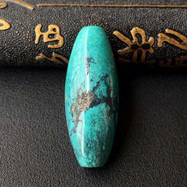 天然绿松石桶珠