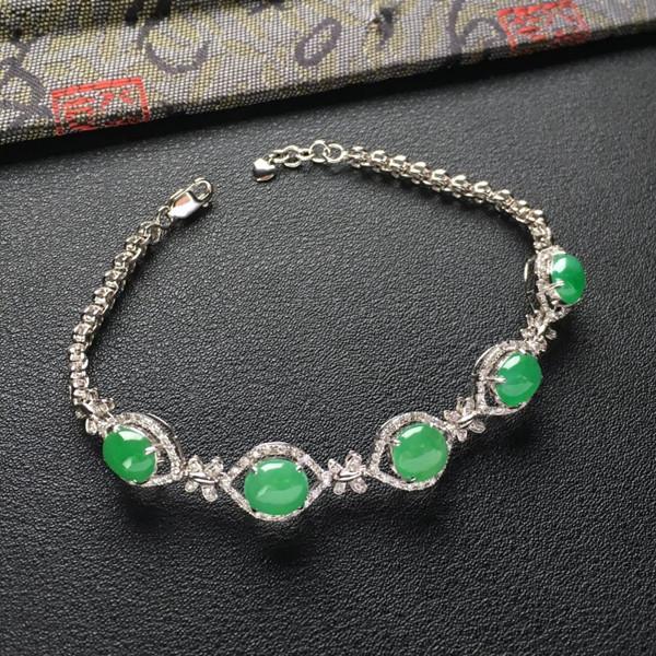 (超值推荐)冰种翠色镶白金钻石手链