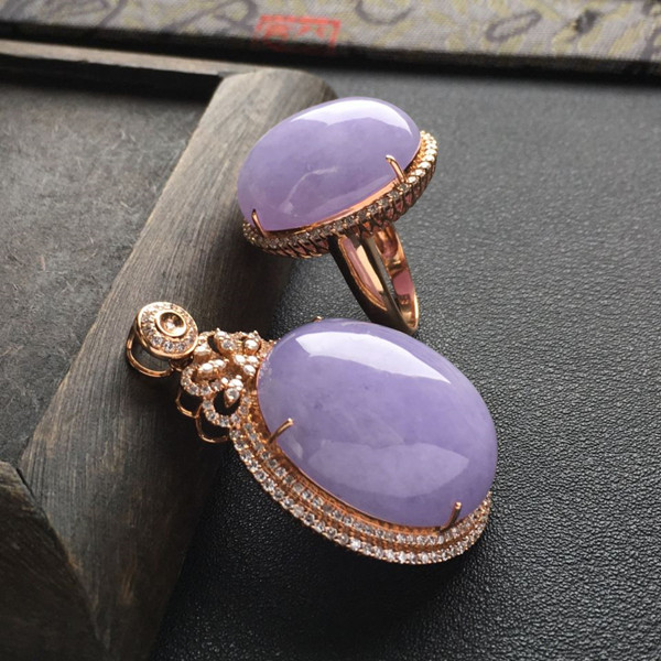 (超值推荐)糯冰种紫罗兰镶玫瑰金钻石胸坠/戒指一套走