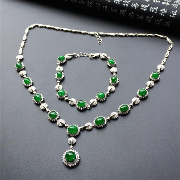 冰种阳绿镶白金钻石项链、手链(一套)