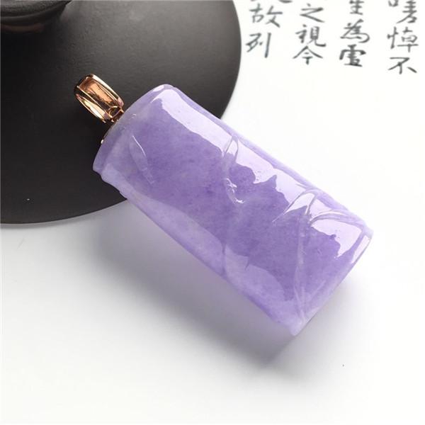糯冰种紫罗兰节节高挂件