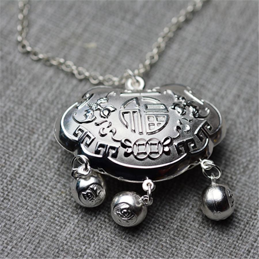 【超值】儿童长命锁+银链020001