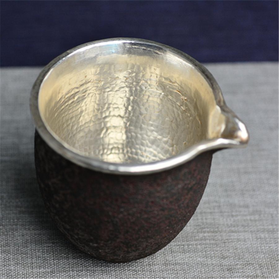 """【超值】""""铁锈釉包银""""公道杯"""