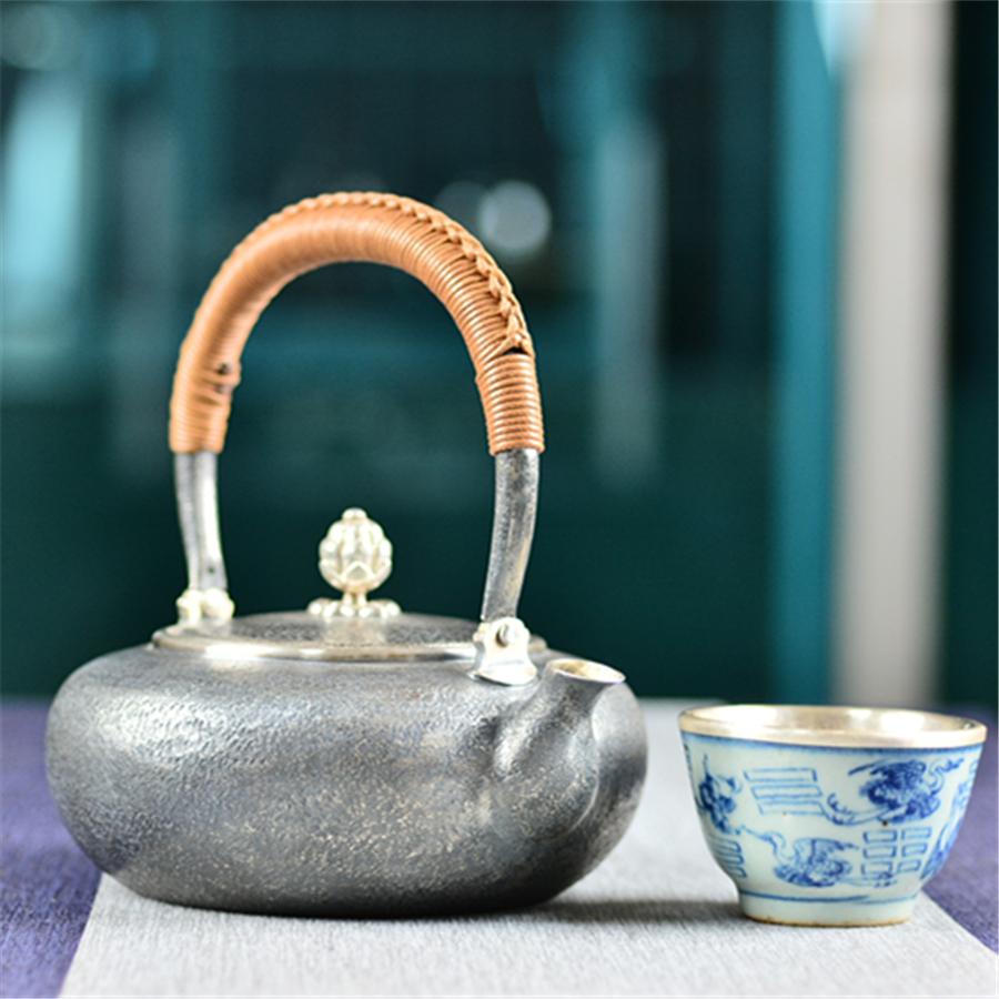 """""""敦敏""""手工泡茶小银壶"""